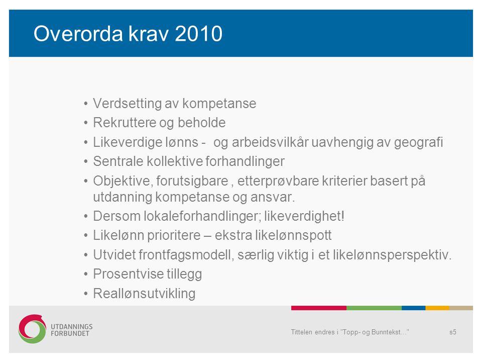 Overorda krav 2010 Verdsetting av kompetanse Rekruttere og beholde Likeverdige lønns - og arbeidsvilkår uavhengig av geografi Sentrale kollektive forhandlinger Objektive, forutsigbare, etterprøvbare kriterier basert på utdanning kompetanse og ansvar.