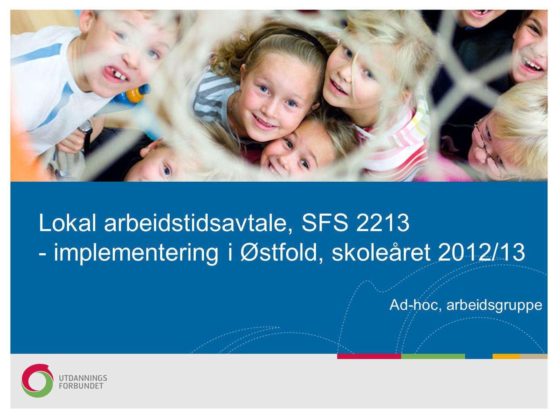 Lokal arbeidstidsavtale, SFS 2213 - implementering i Østfold, skoleåret 2012/13 Ad-hoc, arbeidsgruppe