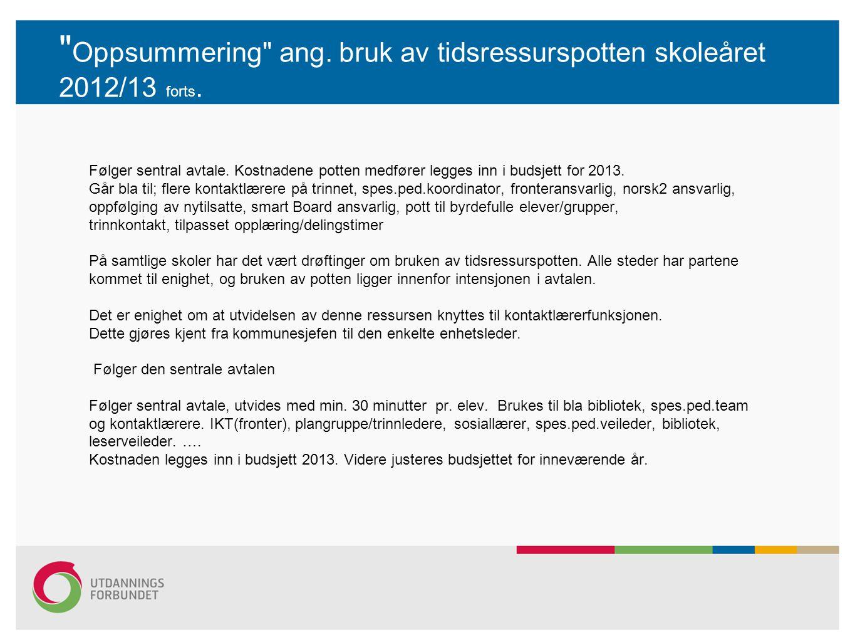 Oppsummering ang.bruk av tidsressurspotten skoleåret 2012/13 forts.