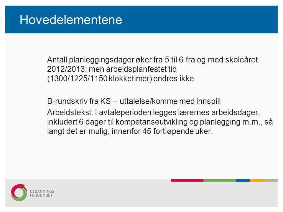 Hovedelementene Antall planleggingsdager øker fra 5 til 6 fra og med skoleåret 2012/2013; men arbeidsplanfestet tid (1300/1225/1150 klokketimer) endre