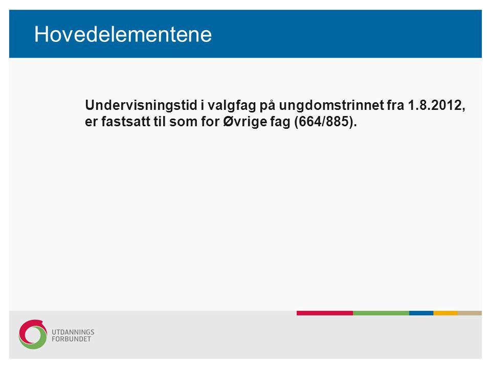 Hovedelementene Undervisningstid i valgfag på ungdomstrinnet fra 1.8.2012, er fastsatt til som for Øvrige fag (664/885).