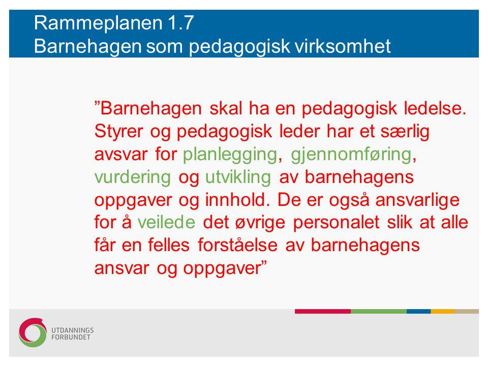 """Rammeplanen 1.7 Barnehagen som pedagogisk virksomhet """"Barnehagen skal ha en pedagogisk ledelse. Styrer og pedagogisk leder har et særlig avsvar for pl"""