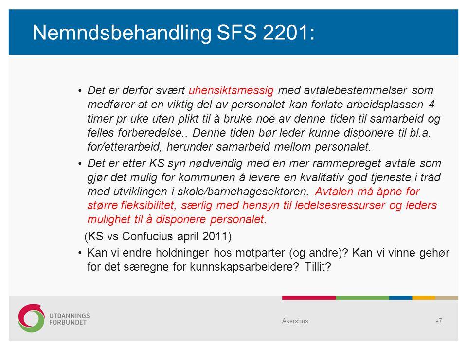 Nemndsbehandling SFS 2201: Det er derfor svært uhensiktsmessig med avtalebestemmelser som medfører at en viktig del av personalet kan forlate arbeidsp