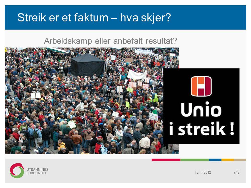 Streik er et faktum – hva skjer? Tariff 2012s12 anbefalt resultat? Arbeidskamp eller anbefalt resultat?