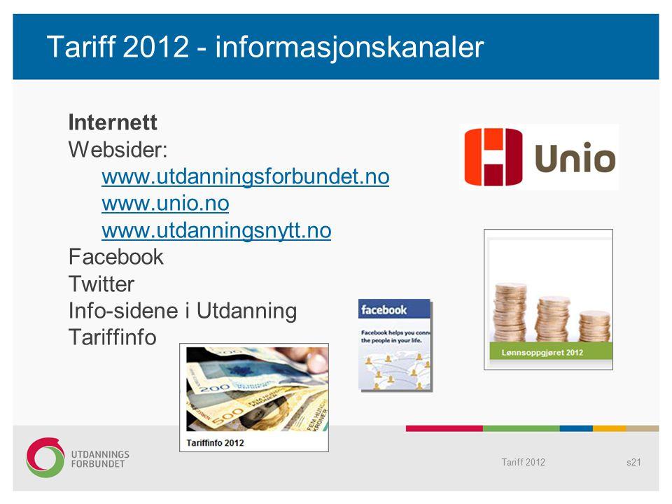 Tariff 2012s21 Tariff 2012 - informasjonskanaler Internett Websider: www.utdanningsforbundet.no www.unio.no www.utdanningsnytt.no Facebook Twitter Inf