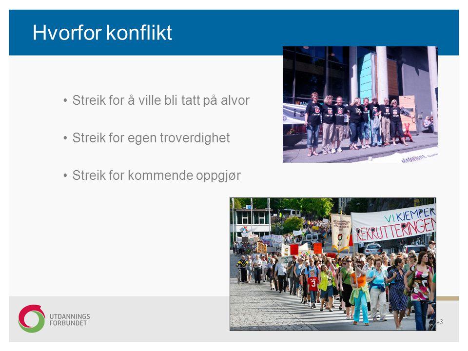 Hvorfor konflikt Streik for å ville bli tatt på alvor Streik for egen troverdighet Streik for kommende oppgjør Regionale tariffkonferanser 2010s3