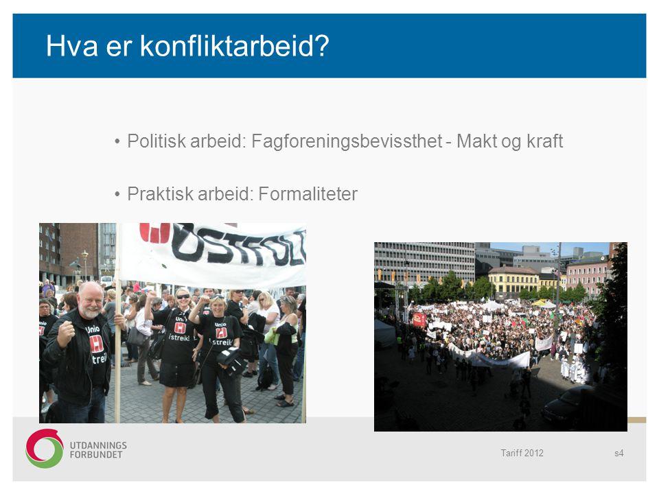 Hva er konfliktarbeid? Politisk arbeid: Fagforeningsbevissthet - Makt og kraft Praktisk arbeid: Formaliteter Tariff 2012s4