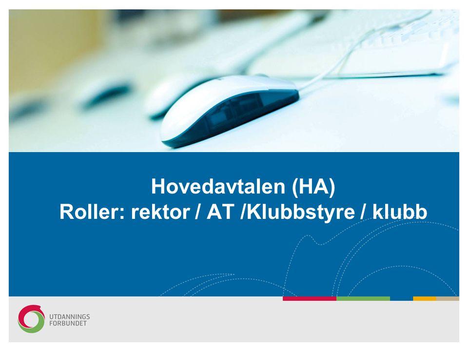 Hovedavtalen (HA) Roller: rektor / AT /Klubbstyre / klubb