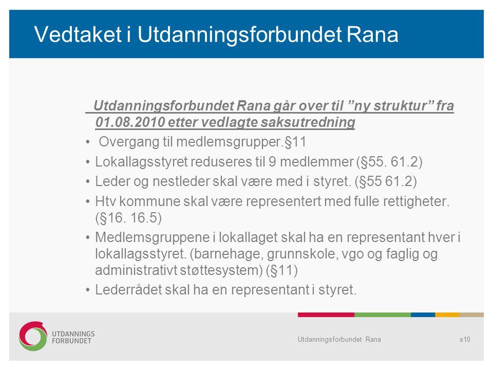 Utdanningsforbundet Ranas10 Vedtaket i Utdanningsforbundet Rana Utdanningsforbundet Rana går over til ny struktur fra 01.08.2010 etter vedlagte saksutredning Overgang til medlemsgrupper.§11 Lokallagsstyret reduseres til 9 medlemmer (§55.