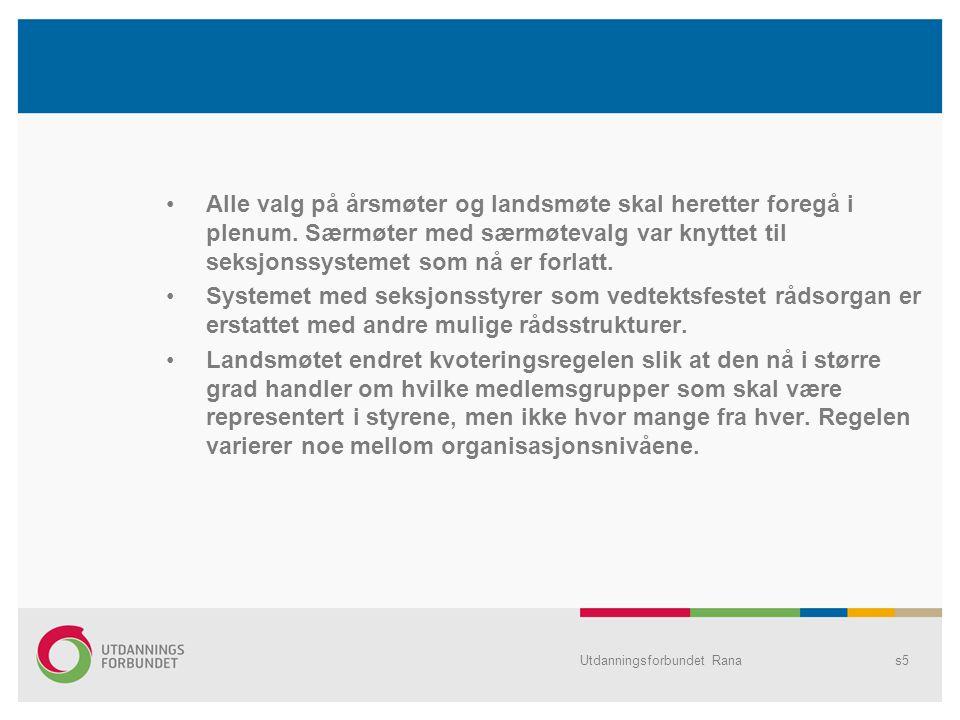 Utdanningsforbundet Ranas5 Alle valg på årsmøter og landsmøte skal heretter foregå i plenum.