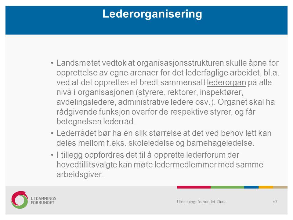 Utdanningsforbundet Ranas7 Lederorganisering Landsmøtet vedtok at organisasjonsstrukturen skulle åpne for opprettelse av egne arenaer for det lederfaglige arbeidet, bl.a.