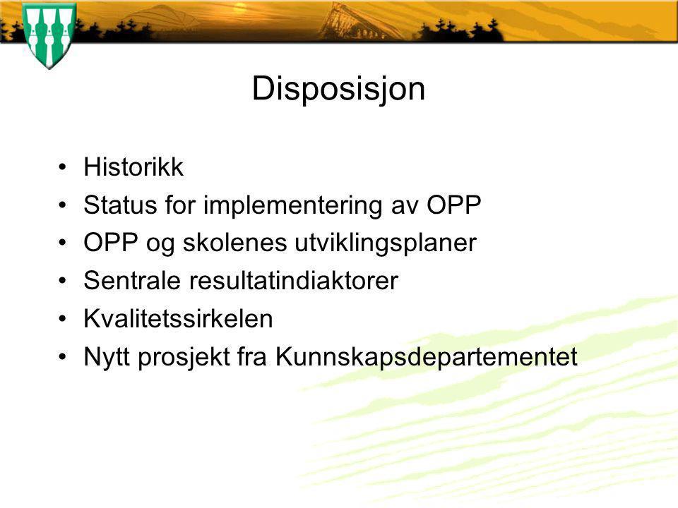 Disposisjon Historikk Status for implementering av OPP OPP og skolenes utviklingsplaner Sentrale resultatindiaktorer Kvalitetssirkelen Nytt prosjekt fra Kunnskapsdepartementet