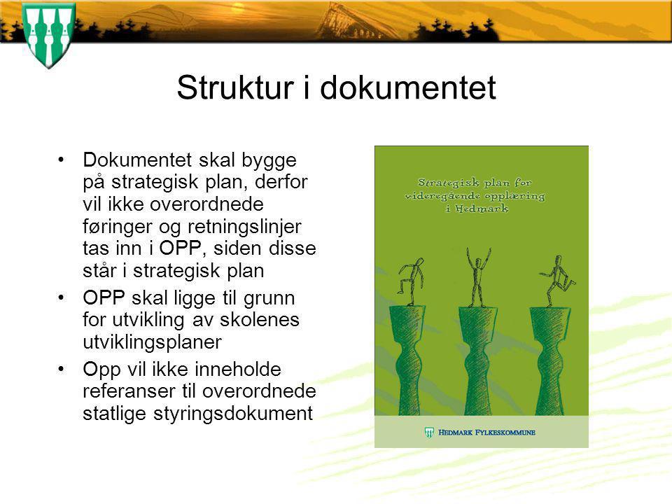 Struktur i dokumentet Dokumentet skal bygge på strategisk plan, derfor vil ikke overordnede føringer og retningslinjer tas inn i OPP, siden disse står i strategisk plan OPP skal ligge til grunn for utvikling av skolenes utviklingsplaner Opp vil ikke inneholde referanser til overordnede statlige styringsdokument