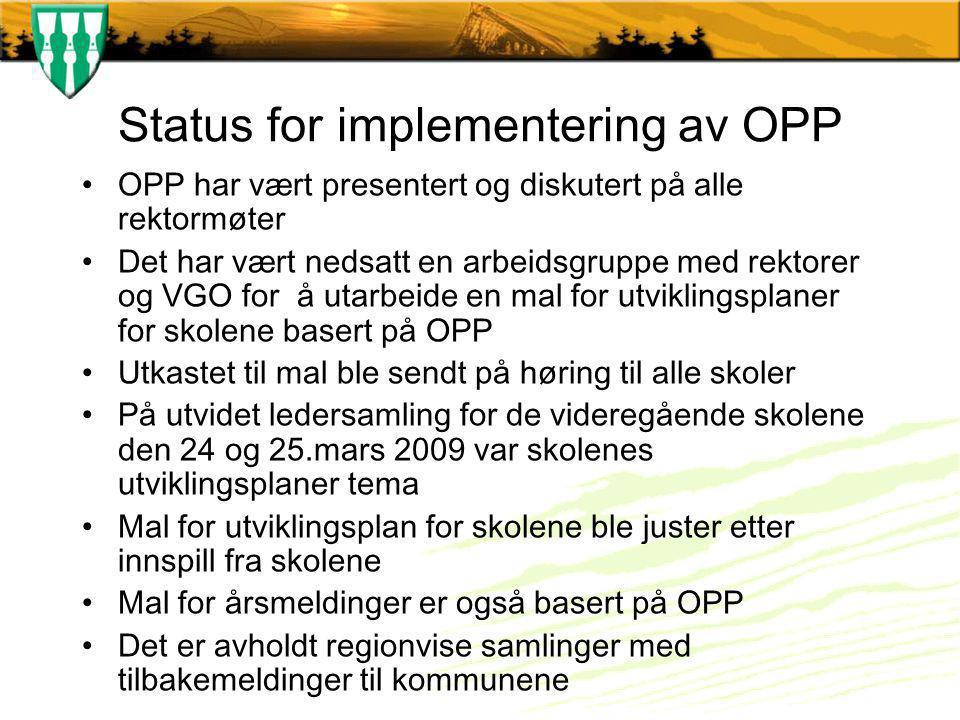 Status for implementering av OPP OPP har vært presentert og diskutert på alle rektormøter Det har vært nedsatt en arbeidsgruppe med rektorer og VGO fo