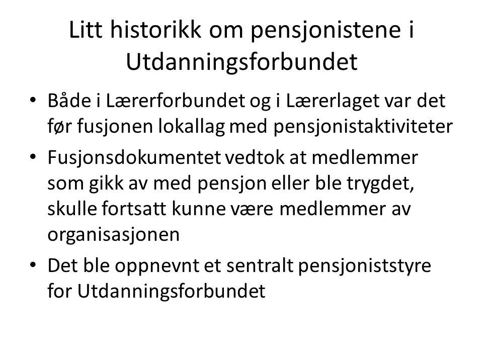 Litt historikk om pensjonistene i Utdanningsforbundet Både i Lærerforbundet og i Lærerlaget var det før fusjonen lokallag med pensjonistaktiviteter Fu