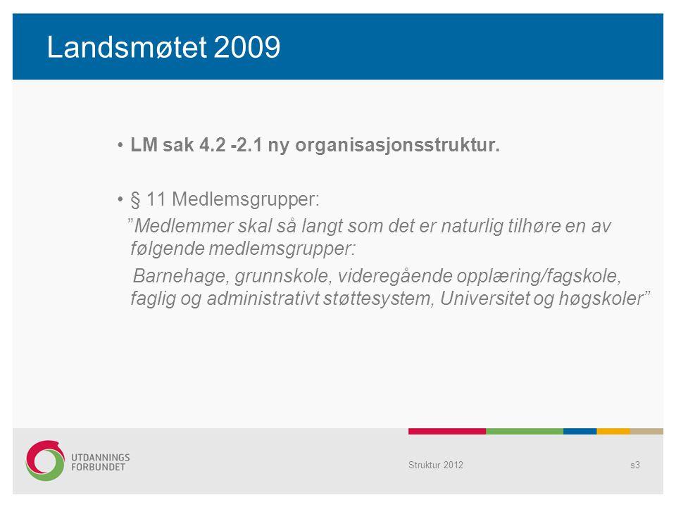 """Landsmøtet 2009 LM sak 4.2 -2.1 ny organisasjonsstruktur. § 11 Medlemsgrupper: """"Medlemmer skal så langt som det er naturlig tilhøre en av følgende med"""