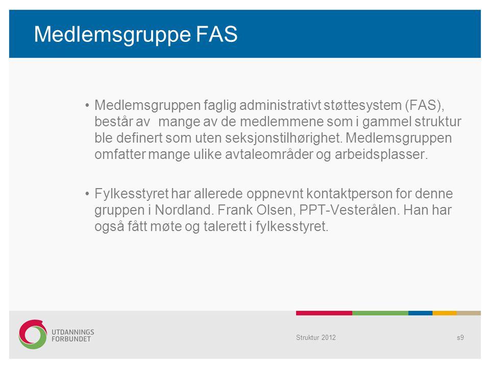 Medlemsgruppe FAS Medlemsgruppen faglig administrativt støttesystem (FAS), består av mange av de medlemmene som i gammel struktur ble definert som ute