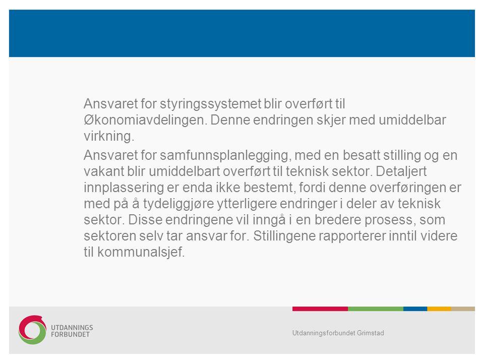 Ansvaret for styringssystemet blir overført til Økonomiavdelingen.