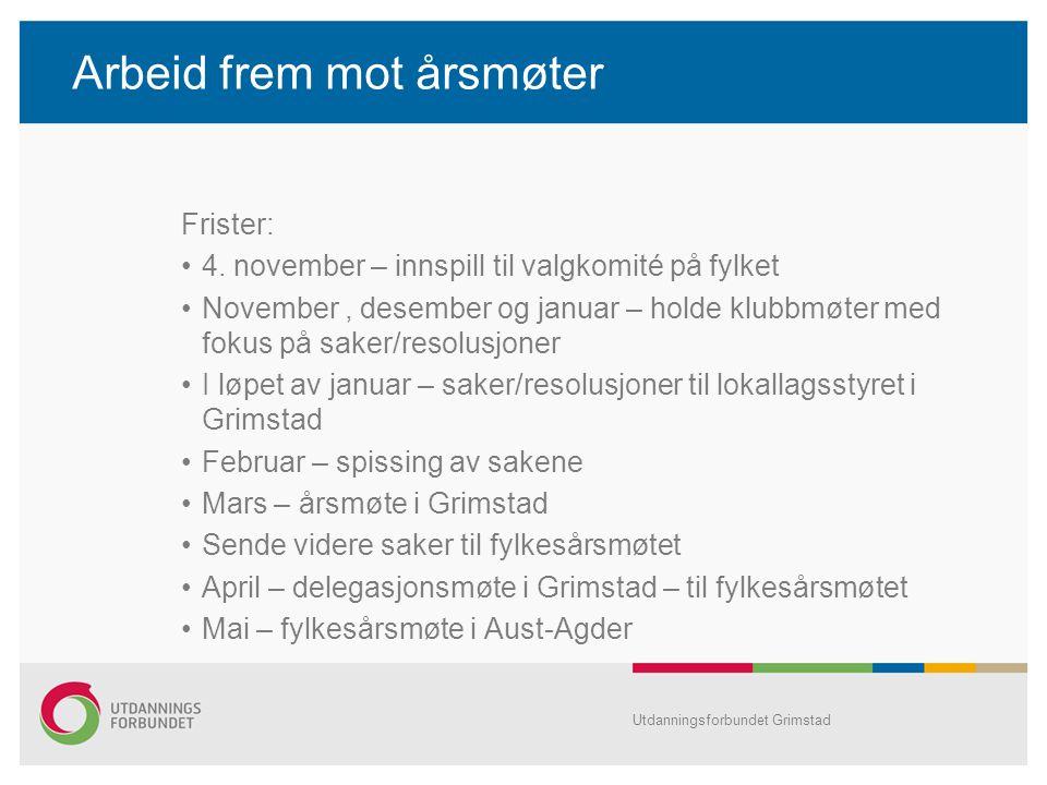 Arbeid frem mot årsmøter Frister: 4.