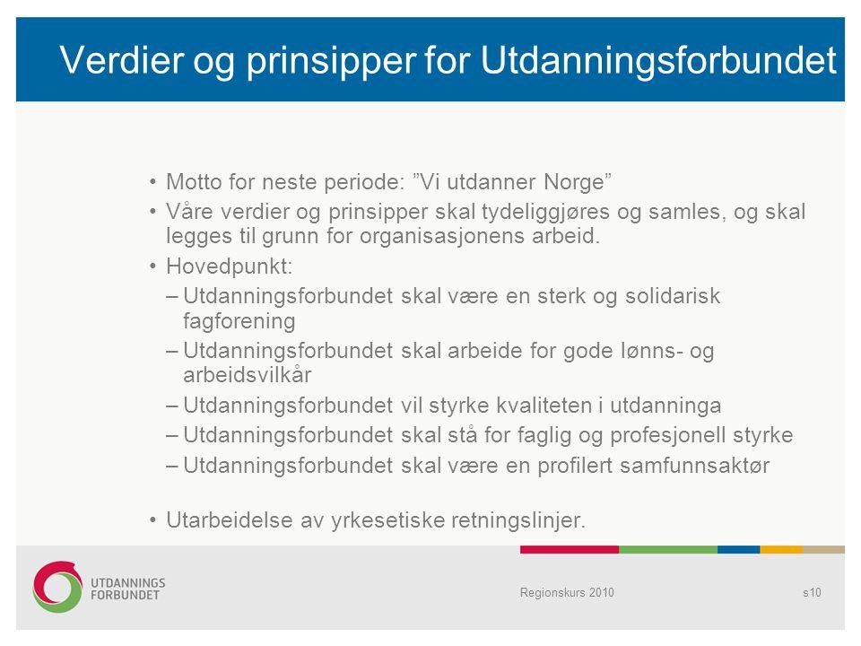 """Verdier og prinsipper for Utdanningsforbundet Motto for neste periode: """"Vi utdanner Norge"""" Våre verdier og prinsipper skal tydeliggjøres og samles, og"""