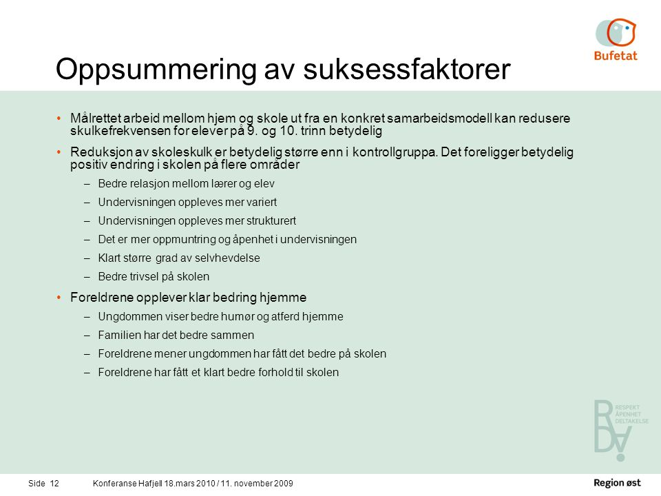 Side 12Konferanse Hafjell 18.mars 2010 / 11.