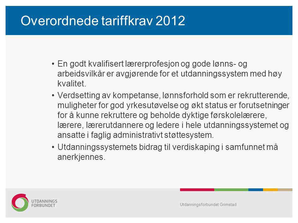 Overordnede tariffkrav 2012 En godt kvalifisert lærerprofesjon og gode lønns- og arbeidsvilkår er avgjørende for et utdanningssystem med høy kvalitet.