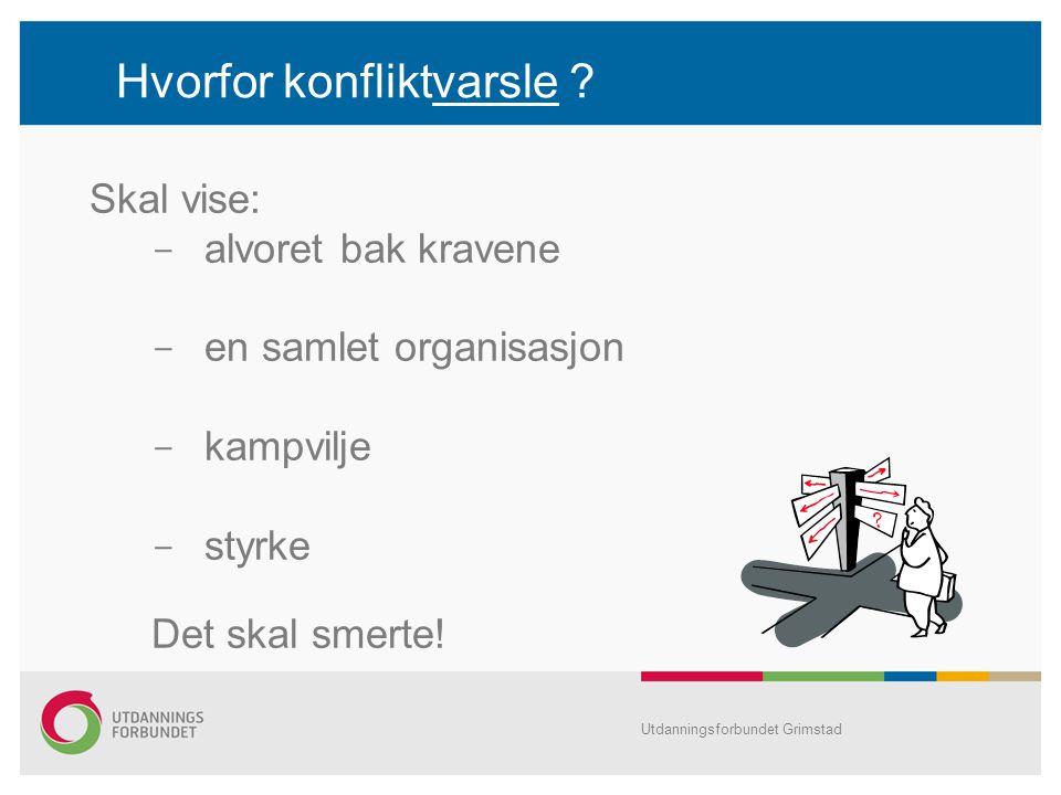 Hvorfor konfliktvarsle ? Skal vise:  alvoret bak kravene  en samlet organisasjon  kampvilje  styrke Det skal smerte! Utdanningsforbundet Grimstad