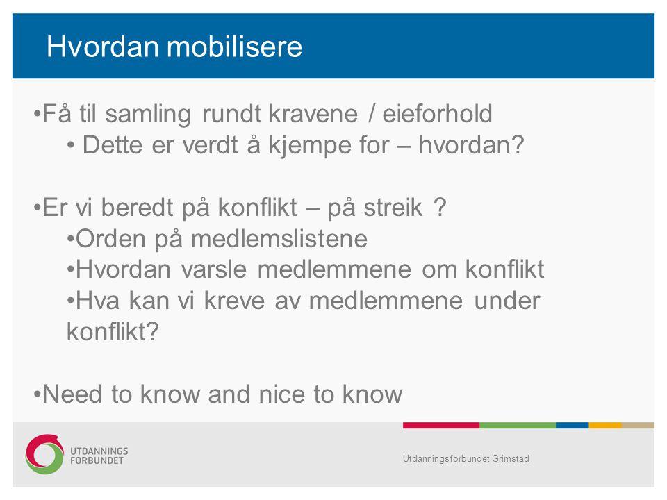 Hvordan mobilisere Utdanningsforbundet Grimstad Få til samling rundt kravene / eieforhold Dette er verdt å kjempe for – hvordan? Er vi beredt på konfl