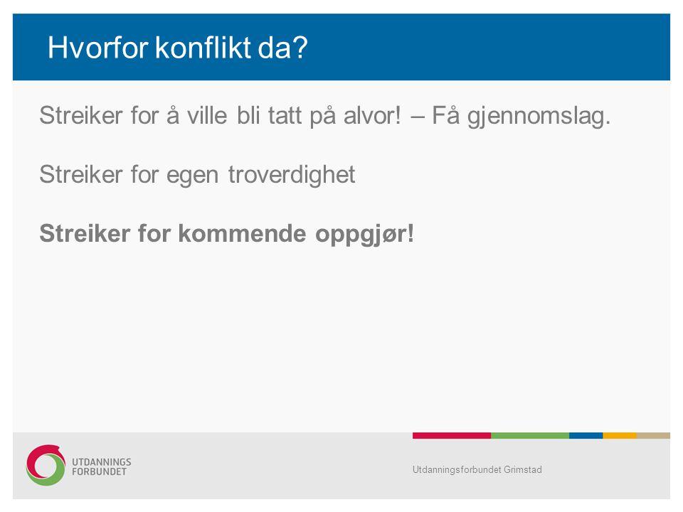 Hvorfor konflikt da? Utdanningsforbundet Grimstad Streiker for å ville bli tatt på alvor! – Få gjennomslag. Streiker for egen troverdighet Streiker fo