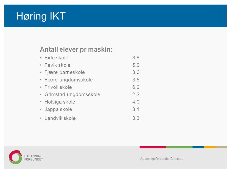 Høring IKT Antall elever pr maskin: Eide skole 3,8 Fevik skole 5,0 Fjære barneskole 3,6 Fjære ungdomsskole 3,5 Frivoll skole 6,0 Grimstad ungdomsskole