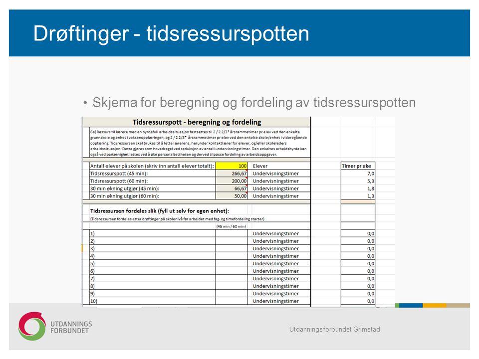 Drøftinger - tidsressurspotten Skjema for beregning og fordeling av tidsressurspotten Utdanningsforbundet Grimstad