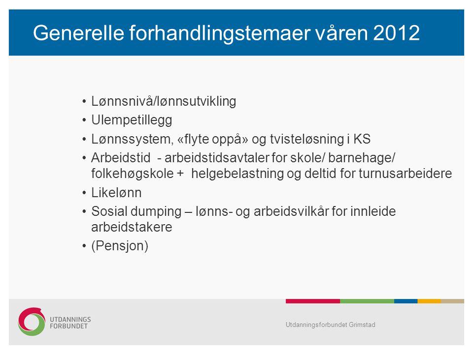 Generelle forhandlingstemaer våren 2012 Lønnsnivå/lønnsutvikling Ulempetillegg Lønnssystem, «flyte oppå» og tvisteløsning i KS Arbeidstid - arbeidstid