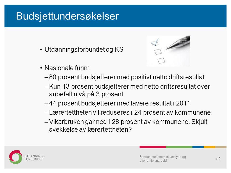 Budsjettundersøkelser Utdanningsforbundet og KS Nasjonale funn: –80 prosent budsjetterer med positivt netto driftsresultat –Kun 13 prosent budsjettere