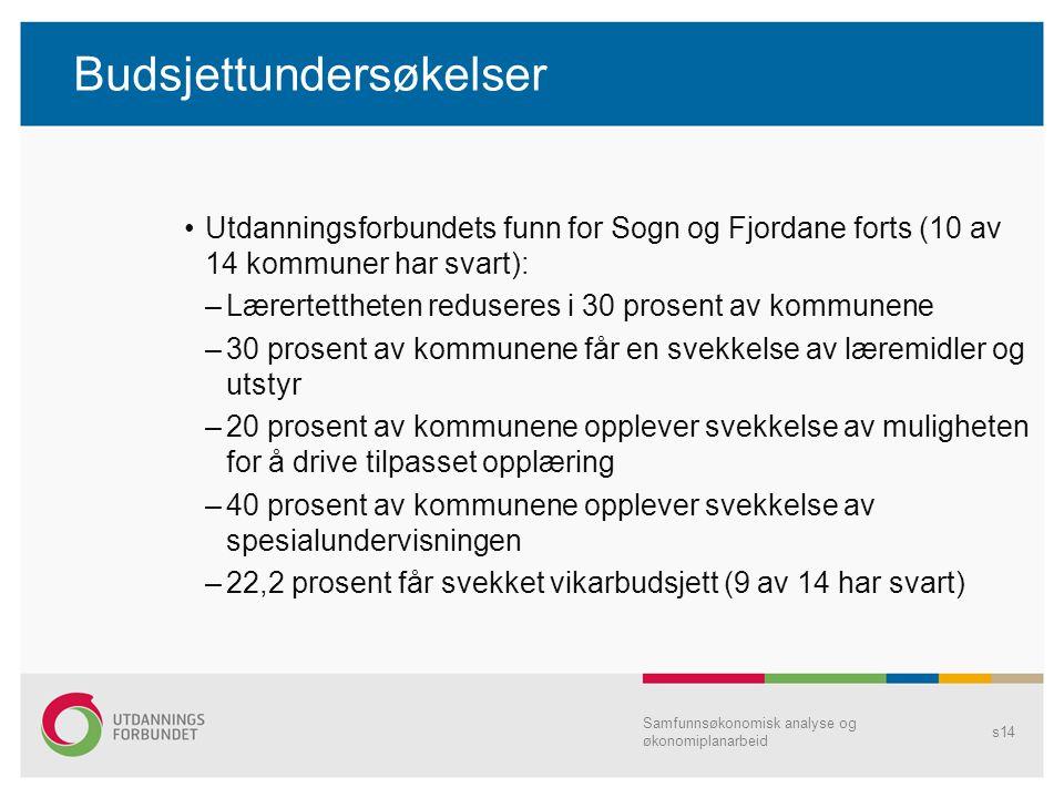 Budsjettundersøkelser Utdanningsforbundets funn for Sogn og Fjordane forts (10 av 14 kommuner har svart): –Lærertettheten reduseres i 30 prosent av ko