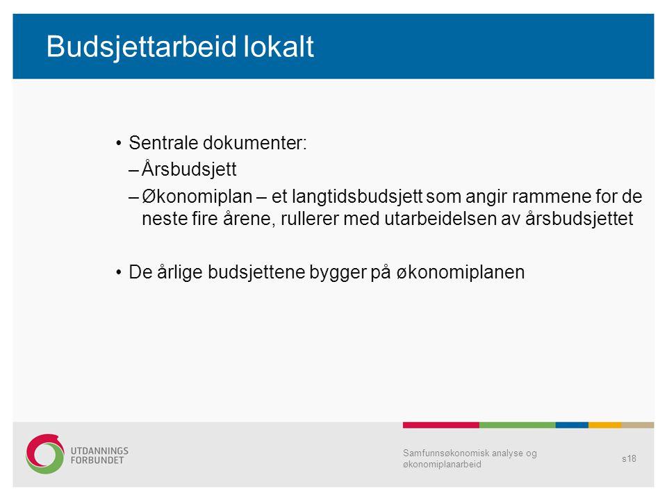 Budsjettarbeid lokalt Sentrale dokumenter: –Årsbudsjett –Økonomiplan – et langtidsbudsjett som angir rammene for de neste fire årene, rullerer med uta