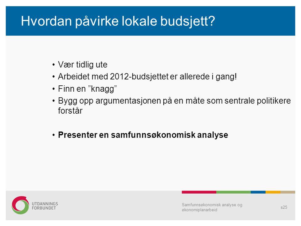 """Hvordan påvirke lokale budsjett? Vær tidlig ute Arbeidet med 2012-budsjettet er allerede i gang! Finn en """"knagg"""" Bygg opp argumentasjonen på en måte s"""