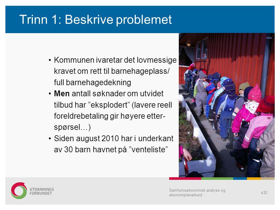 Trinn 1: Beskrive problemet Kommunen ivaretar det lovmessige kravet om rett til barnehageplass/ full barnehagedekning Men antall søknader om utvidet t