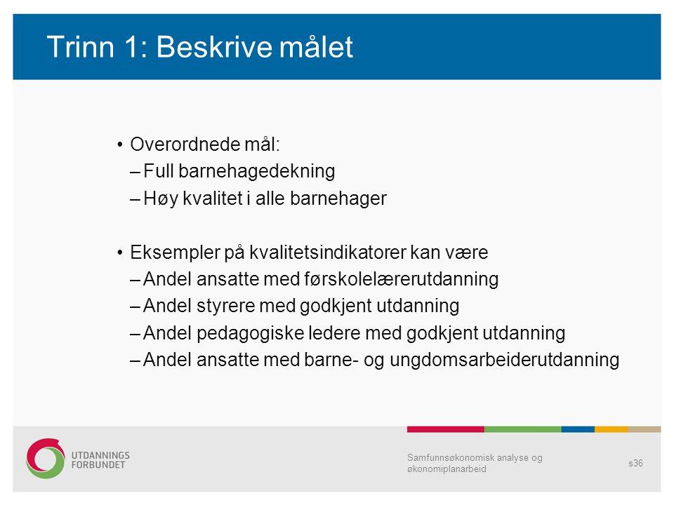 Trinn 1: Beskrive målet Overordnede mål: –Full barnehagedekning –Høy kvalitet i alle barnehager Eksempler på kvalitetsindikatorer kan være –Andel ansa