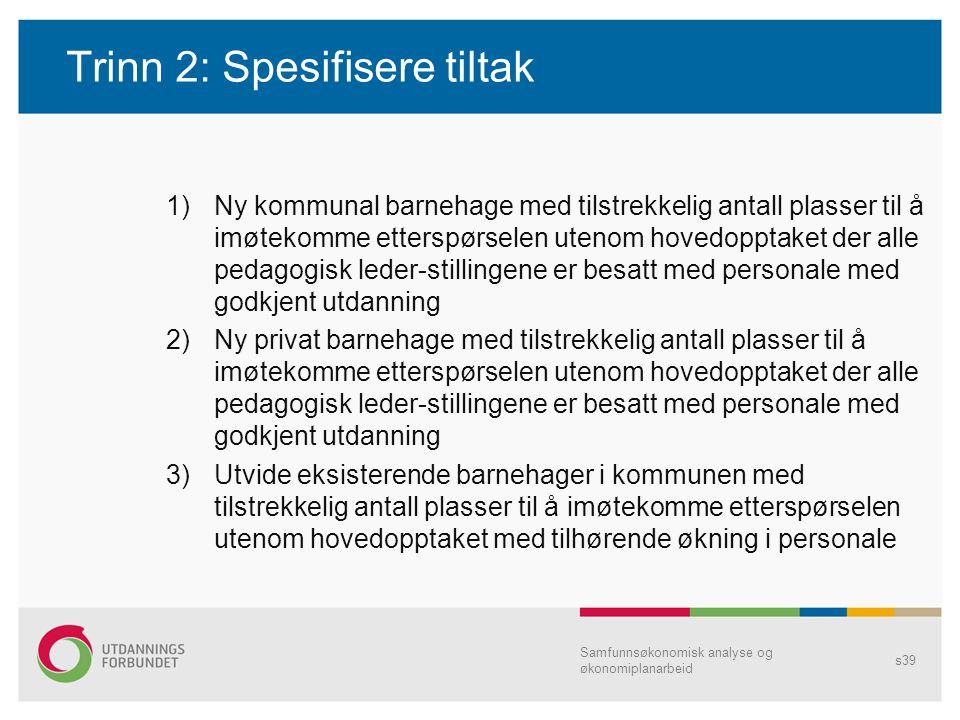 Trinn 2: Spesifisere tiltak 1)Ny kommunal barnehage med tilstrekkelig antall plasser til å imøtekomme etterspørselen utenom hovedopptaket der alle ped