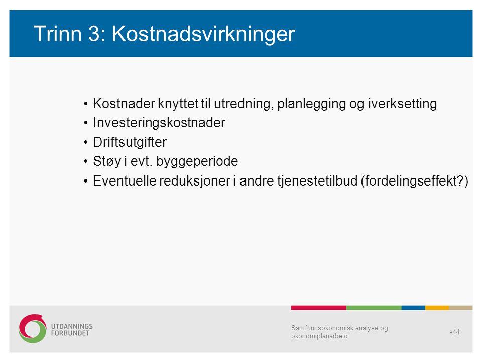 Trinn 3: Kostnadsvirkninger Kostnader knyttet til utredning, planlegging og iverksetting Investeringskostnader Driftsutgifter Støy i evt. byggeperiode