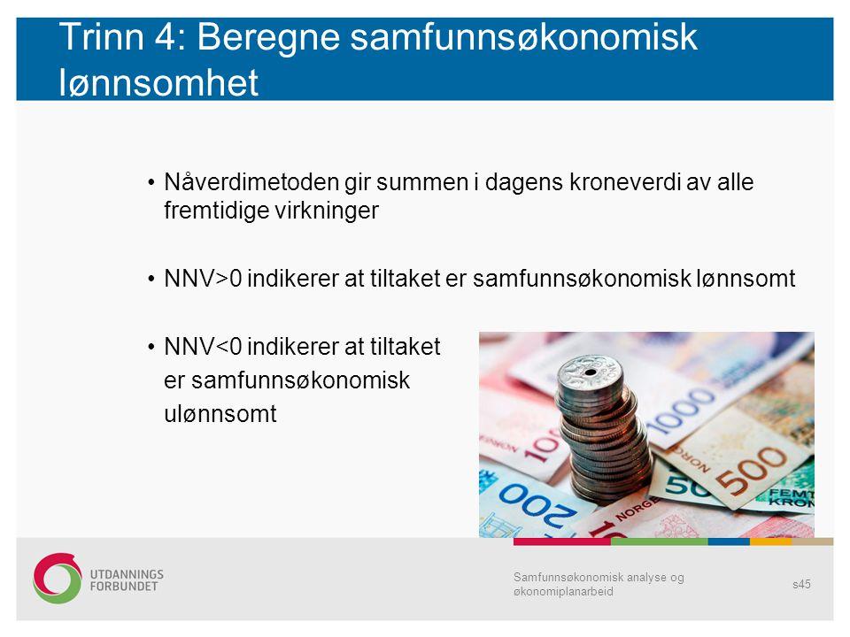 Trinn 4: Beregne samfunnsøkonomisk lønnsomhet Nåverdimetoden gir summen i dagens kroneverdi av alle fremtidige virkninger NNV>0 indikerer at tiltaket