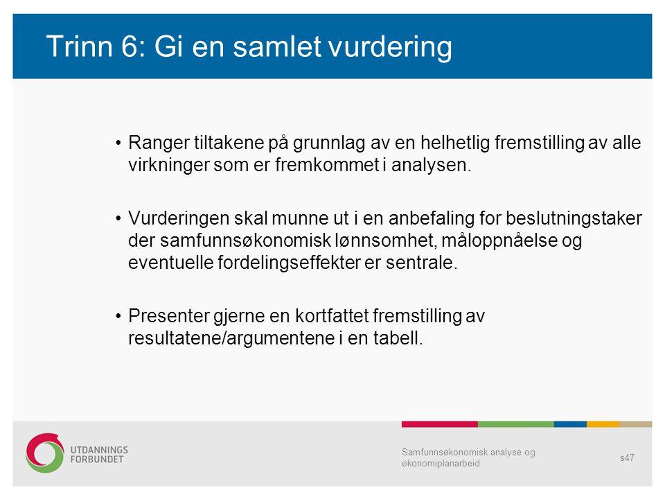 Trinn 6: Gi en samlet vurdering Ranger tiltakene på grunnlag av en helhetlig fremstilling av alle virkninger som er fremkommet i analysen. Vurderingen