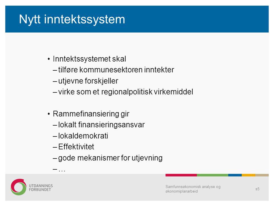 Nytt inntektssystem Inntektssystemet skal –tilføre kommunesektoren inntekter –utjevne forskjeller –virke som et regionalpolitisk virkemiddel Rammefina