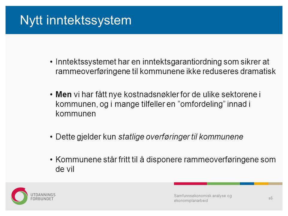 Nytt inntektssystem Inntektssystemet har en inntektsgarantiordning som sikrer at rammeoverføringene til kommunene ikke reduseres dramatisk Men vi har