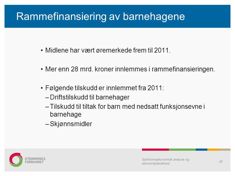 Rammefinansiering av barnehagene Midlene har vært øremerkede frem til 2011. Mer enn 28 mrd. kroner innlemmes i rammefinansieringen. Følgende tilskudd
