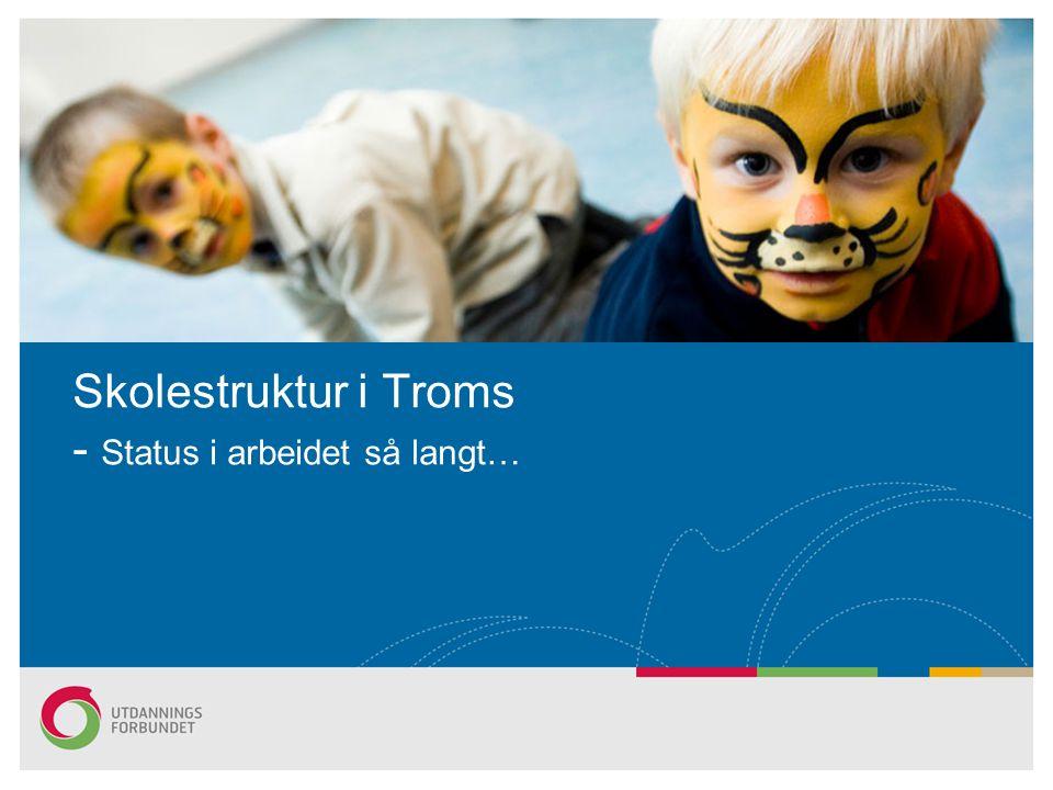 Arbeidet gjelder: –Tromsø (Tromsdalen, Maritime, Kongsbakken, Breivang, Breivika, Kvaløya) –Midt-Troms (Bardufoss, Sjøvegan,Finnfjordbotn m/Sørreisa filial, Senja og Høgtun) –Framtidig landbruksutdanning i Troms, berører Senja og Rå vgs –Nord-Troms (Nordreisa, Skjervøy) egen utredning Tittelen endres i Topp- og Bunntekst... s2