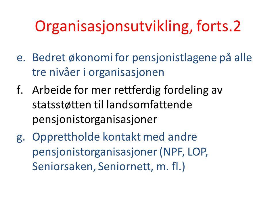 Organisasjonsutvikling, forts.2 e.Bedret økonomi for pensjonistlagene på alle tre nivåer i organisasjonen f.Arbeide for mer rettferdig fordeling av st