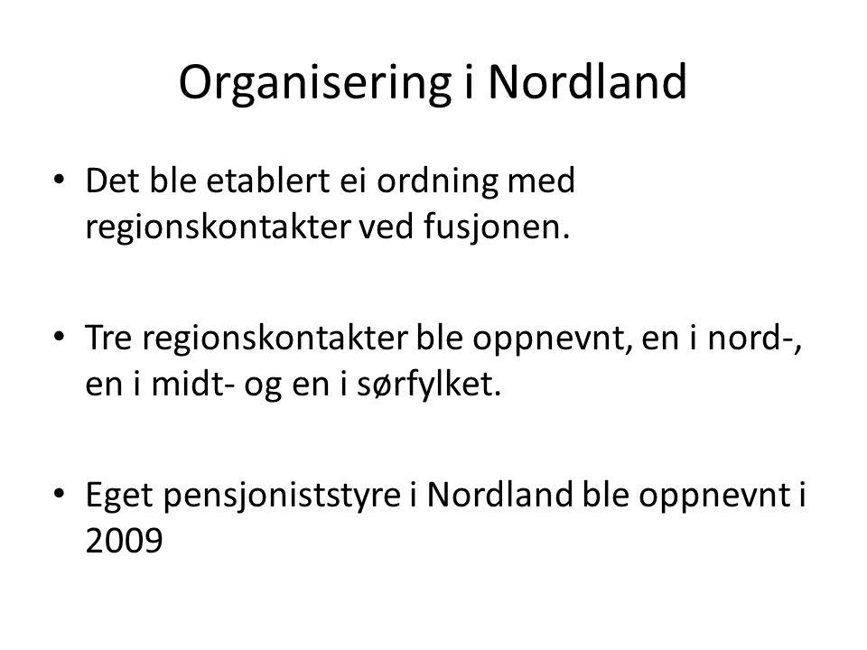 Organisering i Nordland Det ble etablert ei ordning med regionskontakter ved fusjonen. Tre regionskontakter ble oppnevnt, en i nord-, en i midt- og en