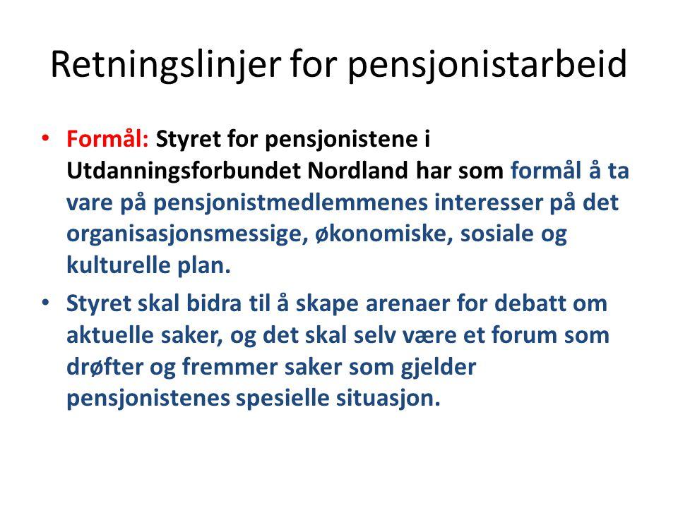Retningslinjer for pensjonistarbeid Formål: Styret for pensjonistene i Utdanningsforbundet Nordland har som formål å ta vare på pensjonistmedlemmenes