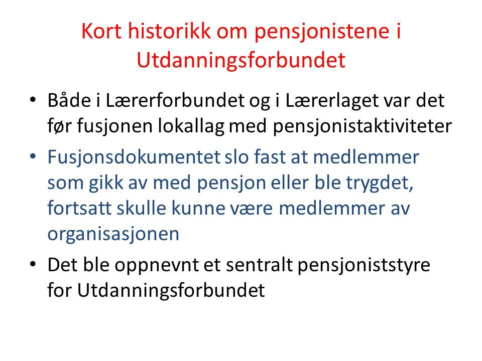 Kort historikk om pensjonistene i Utdanningsforbundet Både i Lærerforbundet og i Lærerlaget var det før fusjonen lokallag med pensjonistaktiviteter Fu